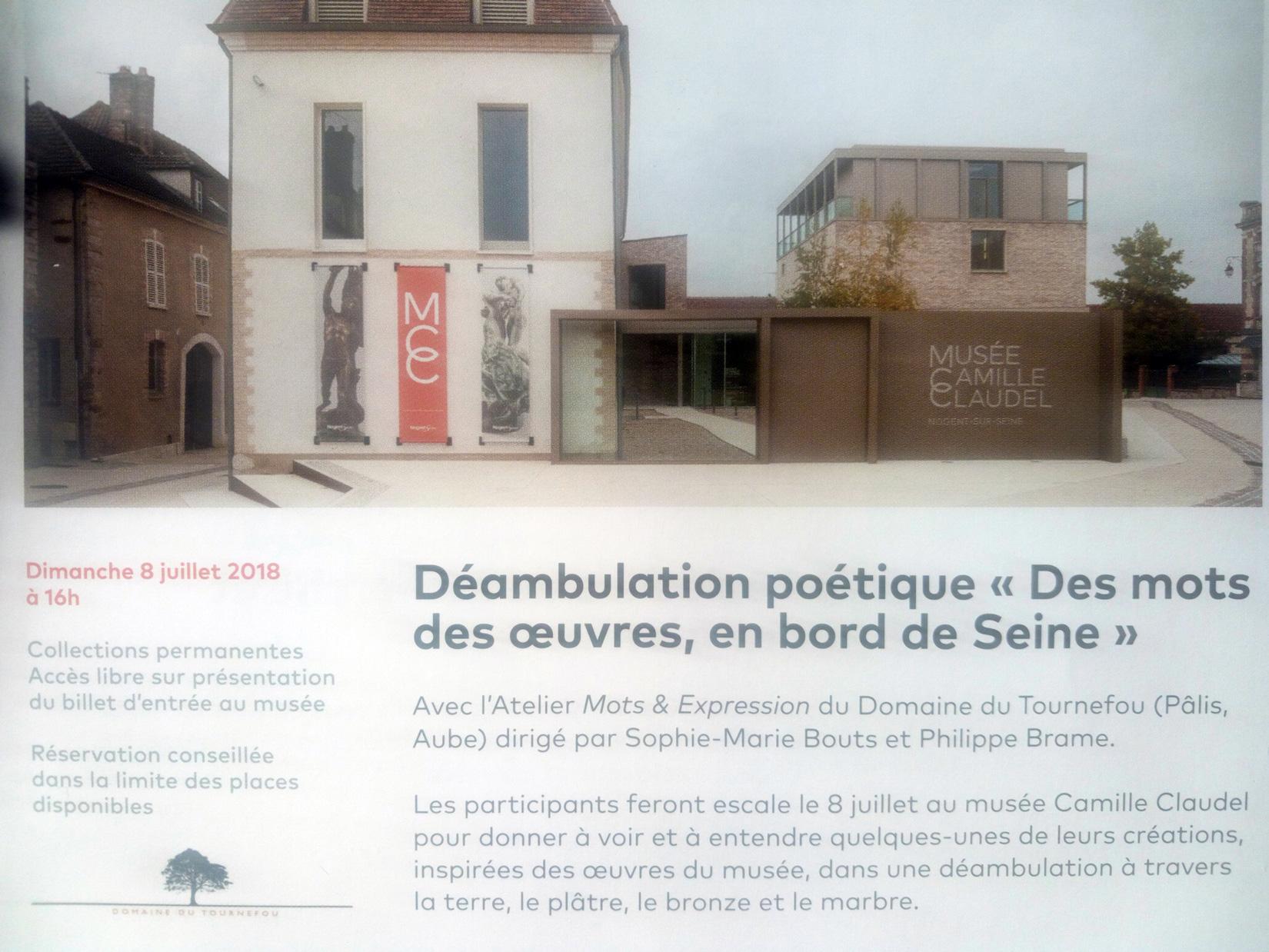 """Dimanche 8 Juillet 2018 : Déambulation poétique """"Des mots, des œuvres, en bord de Seine"""" Avec l'atelier Mots & Expressions du Domaine du Tournefou à Pâlis"""